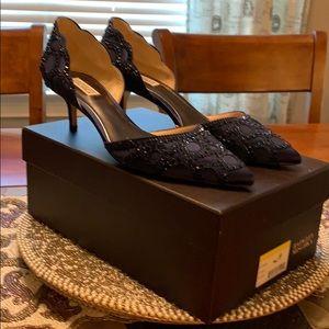 Badgley Mischka Ginny satin beaded shoes. Size 10